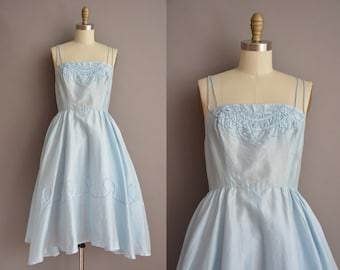 50s ice blue vintage cotton silk dress by Carol Nabtal / vintage 1950s dress
