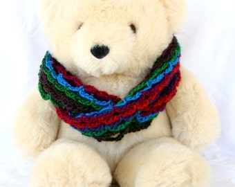 Crochet cowl red blue green purple brown lace mesh infinity circle scarf stripes long winter fashion soft accessory pretty warm variegated