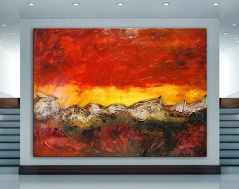 Abstract modern red painting on canvas, large Original painting handmade painting Large Contemporary Painting, red sunset textural art, huge