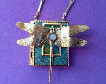 Dragonfly-miniature book pin with a readable story inside - Turquoise & Gold