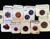 Large Lot DISCOUNTED Handmade Buttons  Rainy Day Buttons De-Stash - Brocade