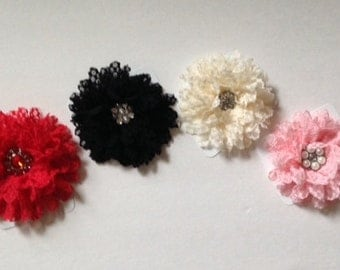 Flower Hair Clips by Cheryl's Bowtique, red, black, white, pink