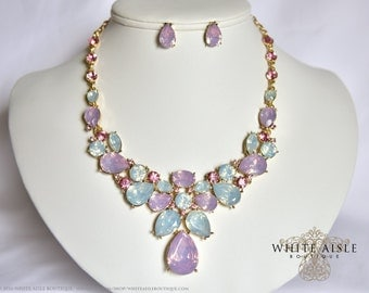 Pink Wedding Jewelry Set, Crystal Statement Necklace, Bridal Jewelry Set, Vintage Inspired Necklace