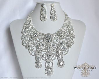 Bridal Jewelry Set, Crystal Necklace, Bib Necklace, Cubic Zirconia Bridal Statement Necklace Earring Set, Vintage Style, Hollywood Necklace