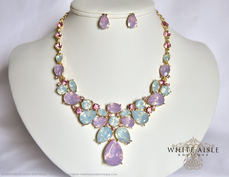 Pink wedding jewelry set crystal statement necklace for Pink wedding jewelry sets