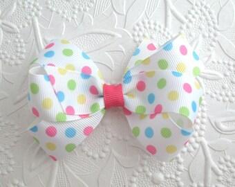 Pastel Polka Dot Hair Bows for Toddlers, Little Girls ~ Pinwheel Hair Bow