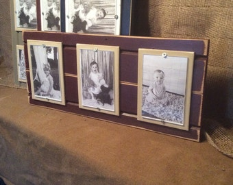 Distressed wood picture frame triple 4x6
