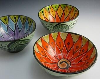 Medium Ceramic Serving Bowl - Red Orange Lotus Flower - Clay Bowl - Majolica Pottery - Kitchen Prep Bowl - Mandala Pattern - Pottery Bowl