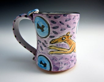 Ceramic Coffee Mug - Fawn Greyhound Dog - Pottery Mug - Clay Majolica Mug -  Purple 14 ounces - Medium Large Mug