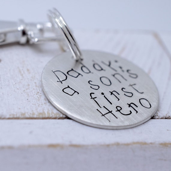 Son's First Hero - Personalized Sterling Silver Disc Key Chain - Gift for Dad Father's Day - From the Kids - Grandpa Grandfather - For Him