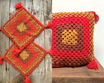 Granny Square Pillows  //   Crochet Pillows  //  WINTER SUN