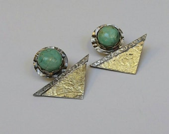 Sterling silver turquoise and keum boo earrings, hallmarked in Edinburgh