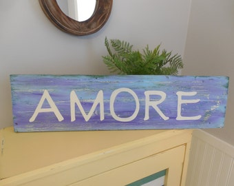 AMORE Handpainted Wooden Sign
