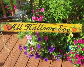 All Hallows Eve Handpainted Sign Halloween  Reclaimed wood.