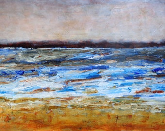 Original Abstract Seascape ~ Large acrylic painting in expressionist style ~ Abstract painting in blues and amber