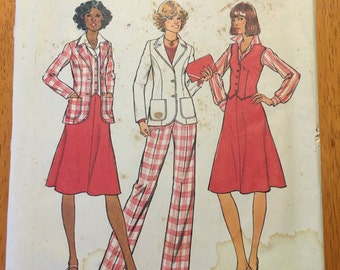 Vintage Simplicity Pattern 7376 COMPLETE! Size 10 Jacket, vest, skirt and pants Copyright 1976