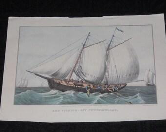 """Vintage Currier & Ives 1977 Calendar Print-""""Cod Fishing-Off Newfoundland"""""""