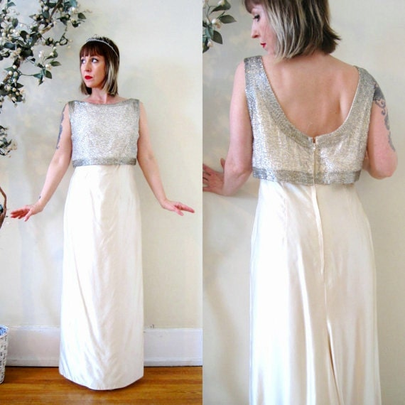 Vintage 60s Wedding Gown Bridal Dress Beaded Silk Shantung