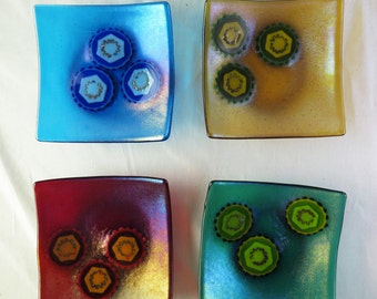 Hepatitis Virus Set of Four Fused Glass Bowls Made to Order