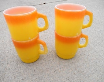 Set of Four Yellow and Orange Fire King Mugs, Candy Corn