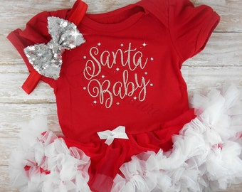 Baby girl Christmas dress Baby's First Christmas outfit