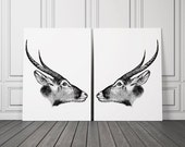 Large Animal Wall Art, Set of 2 , Oversized Art , Mountain Goats Print