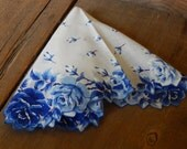Vintage Handkerchief Ladies Blues Roses Hanky Wedding Bride Gift Cottage Chic Romantic Decor AMarigoldLife