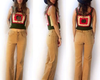 Vintage 70s 80s Mid rise boot cut jeans // hi rise denim // high waisted light brown camel brushed denim // retro cowgirl boho hippie rocker