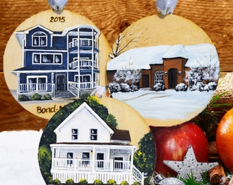 custom hand painted wood burned home ornament personalized house painting - Painted Wood Home 2015