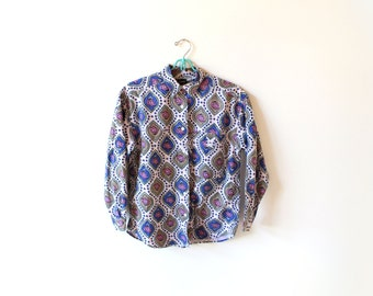 vintage blouse 80's shirt wallpaper print shirt 1980's women's clothing size small s