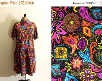 50% OFF SALE vintage dress 80s womens clothing novelty print floral rainbow colors 1980s abstract size medium large m l