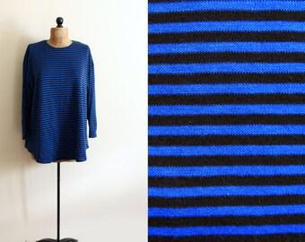 vintage shirt striped tunic 1980s blue black gitano clothing size large l