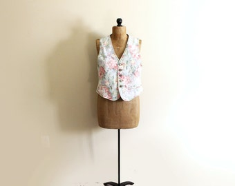 SALE vintage vest jean 80s denim pastel floral print acid wash 1980s womens clothing romantic size large l