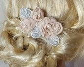 BLUSH Champagne Bridal Hair Comb, Chiffon Floral Hair Clip,Wedding Fascinator, Lace Pearl Hair Comb, Bridal Hair Clip,Bridal Comb,