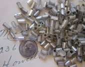 50  vintage mercury glass tube beads - silver lined glass tube beads - 1/4 inch x 4mm wide