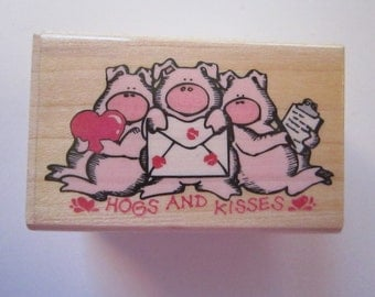 rubber stamp - HOGS and KISSES - three pigs, pig stamp, pig rubber stamp