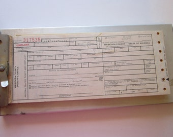 vintage aluminum clip board with Arizona complaint forms and violation code cards - circa 1970s- Maricopa County AZ