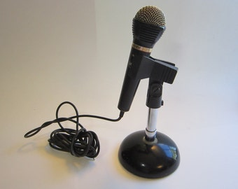 vintage microphone and microphone stand - clip microphone stand - metal stand, Sony microphone