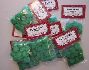 96 pom poms - GREEN pom poms - 3/4 sizes - acrylic pom poms - 8 packages of 12 pieces