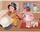 Caring for Baby - Antique Postcard - Children, Comics, Cartoon, Comical, Humorous, Babies, Dogs, Paper, Ephemera