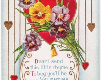 Pansy Valentine - Antique Postcard - Valentines, Valentine Postcards, Valentine's Day, Pansies, Hearts, Love, Paper, Ephemera