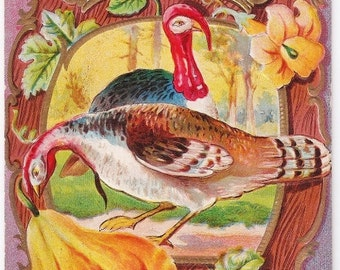 Thanksgiving Joys - Antique Postcard - Thanksgiving Postcards, Turkeys, Autumn, Fall, Harvest, Leaves, Paper, Ephemera