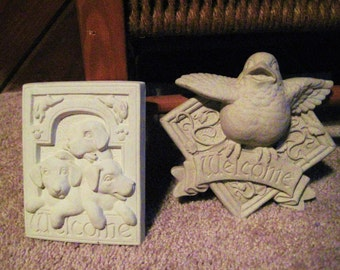 small garden plaques-welcome with dogs an bird-sale
