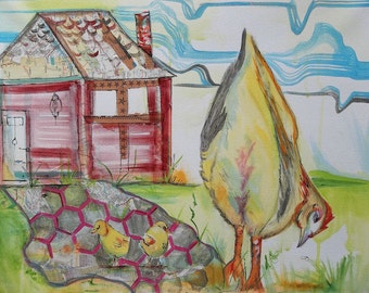 Home with Momma mixed media on canvas 16x20 inches  chicken folk art painting collage maps