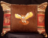 New Embroidered, Warm Tones, Great Horned Owl with Pine Cones, Accent Pillow, New 12 x 16 Insert — Item 205