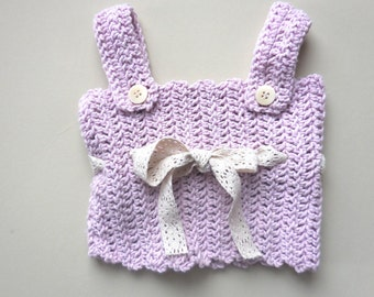 CROCHET CAMI Tank Baby Girls Soft Pink Sleeveless Pinafore Top Shirt Heirloom Cami Lace Trim Shell 1 year 12 15 months