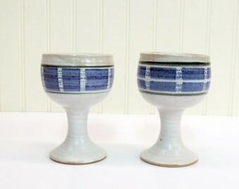 Studio Pottery Stoneware Wine Goblets Mid Century Abstract Indigo Glaze c. 1960s Boho Barware