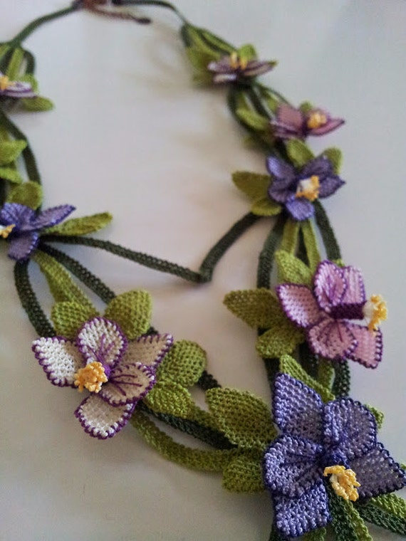 Pink, lilac, purple and beige  violets and buds necklace - Multicolor Violets and Green Leaves