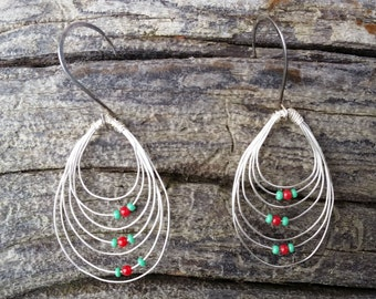Handmade Sterling Silver and Turquoise and Red Glass Earrings