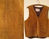 60s or 70s men western leather vest - hand tooled horse motif - suede leather vest